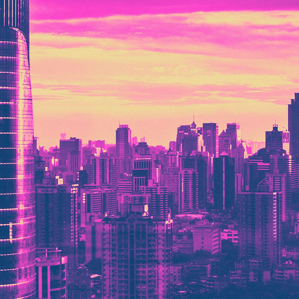 Neon Skyline Canvas Wall Art