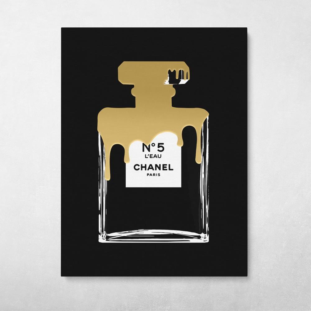 Chanel No5 Gold Paint Drip Fashion Pop Art Modern Graffiti