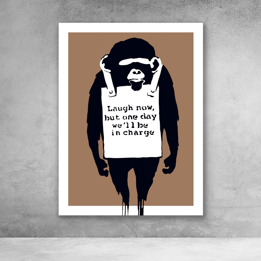 Laugh Now - Brown - Banksy Street Art