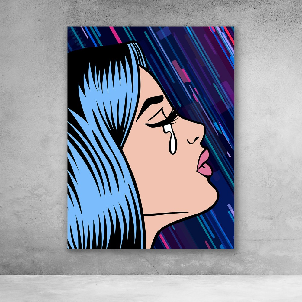 Pop Art Girl Crying - Rain
