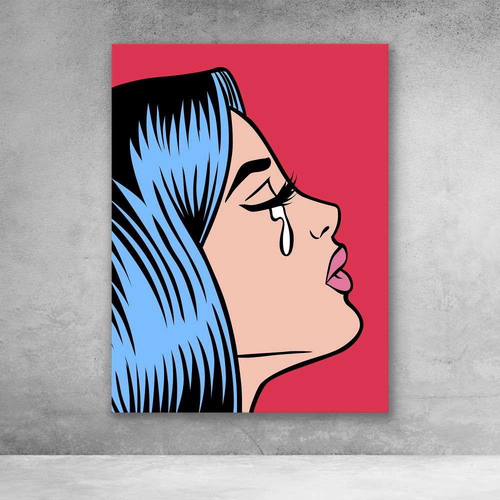 Pop Art Girl Crying - Red