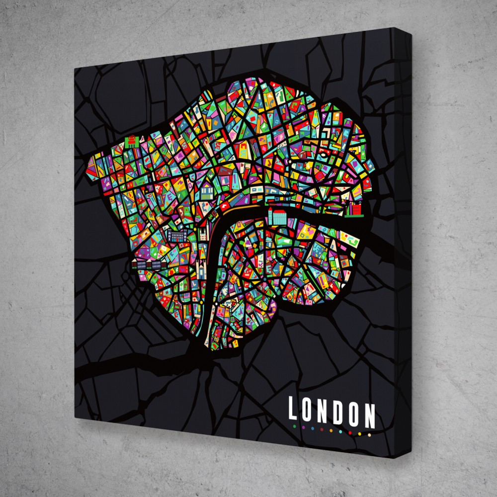 London Pop Art City Map Colorful Modern Abstract Canvas Wall Art