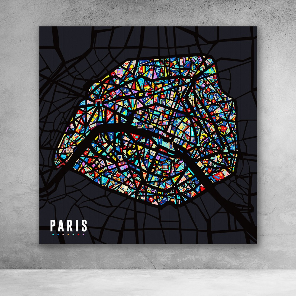 Paris Pop Art City Map Colorful Modern Abstract Canvas Wall Art