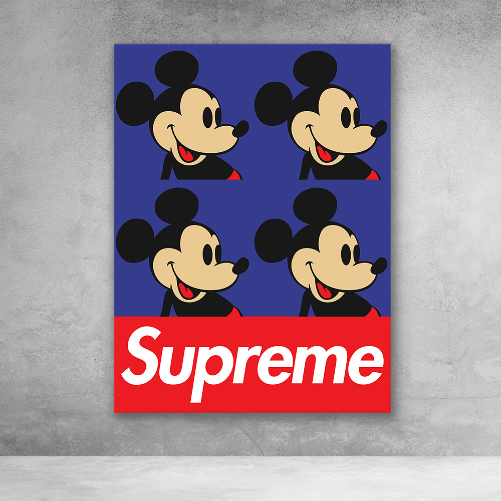 Supreme Mickey Mouse Pop Culture Modern Canvas Wall Art
